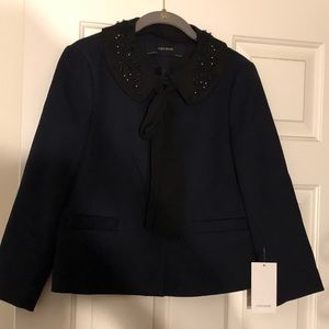 BNWT Zara Navy jacket with beaded collar medium